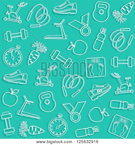 Vector seamless background with white line icons of the sports goods on a green field.