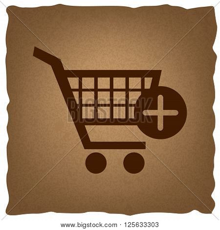 Shopping Cart and add Mark Icon. Coffee style on old paper.