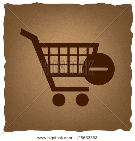 Vector Shopping Cart Remove from Cart Icon. Coffee style on old paper.