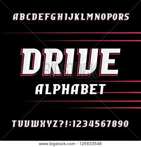 Drive alphabet vector font. Oblique letters and numbers. Stock vector typeface for your design.