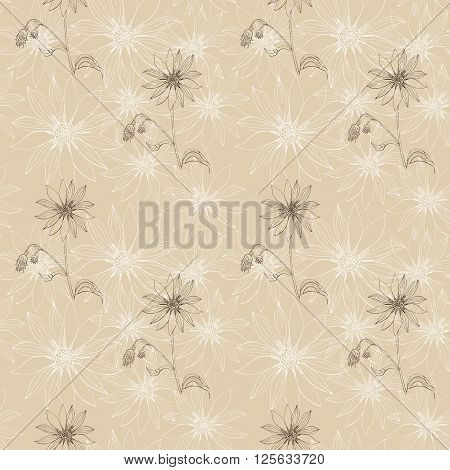 Vintage seamless pattern with beautiful Jerusalem artichokes flower. Hand drawn vector illustration. Can be used for textiles, fabrics, textures, wrapping paper, card invitation.