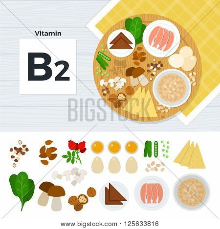 Vitamin B2 vector flat illustrations. Foods containing vitamin B2 on the table. Source of vitamin B2: fish, bean, potatoe, mushrooms, cheese, nuts isolated on white background
