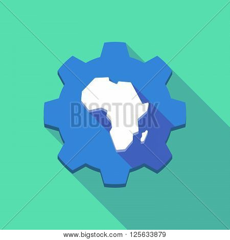 Long Shadow Gear Icon With  A Map Of The African Continent