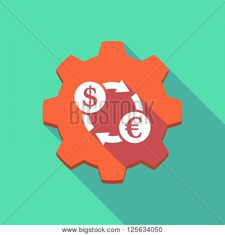 Long Shadow Gear Icon With A Dollar Euro Exchange Sign