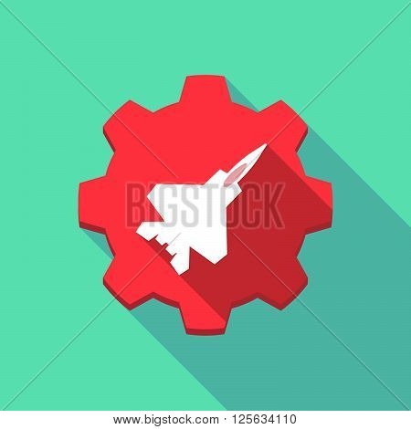 Long Shadow Gear Icon With A Combat Plane