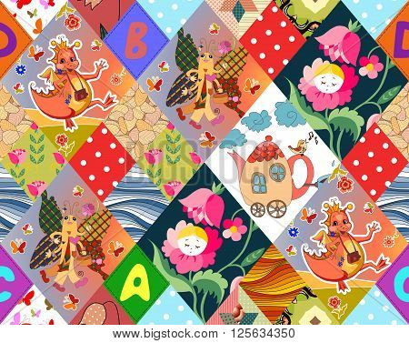 Childish seamless patchwork pattern with fantasy dragons, butterflies, flower fairy and teapot. Different patches with letters, waves and dots. Cute vector illustration of quilting.