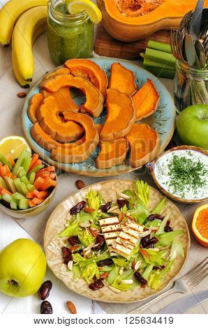 Healthy Lunch Salad, Tzatziki And Baked Pumpkin