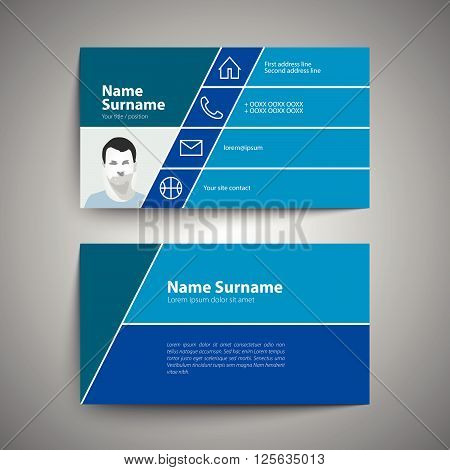 Modern blue simple business card set template or visiting card. Vector illustration.