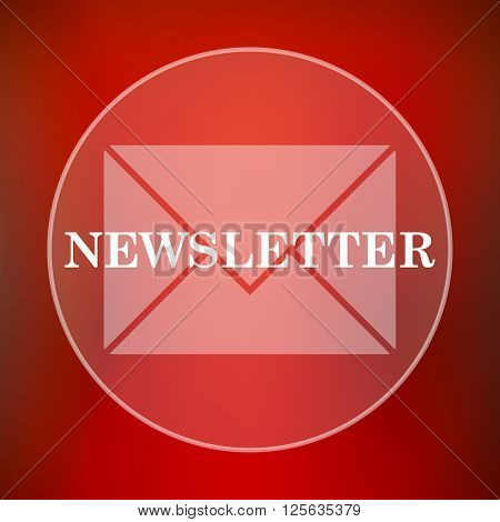 Newsletter icon. White translucent internet button on red background.