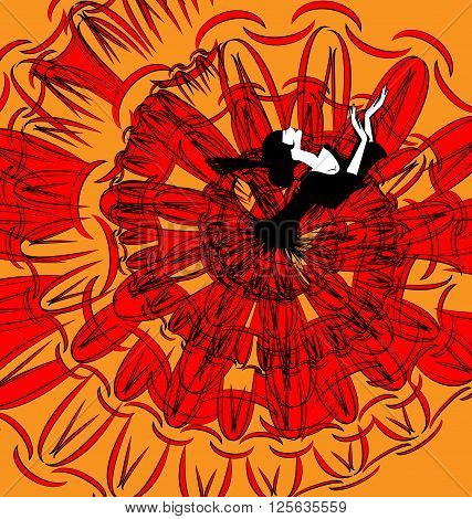 abstract image of dancing black-red Spanish girl
