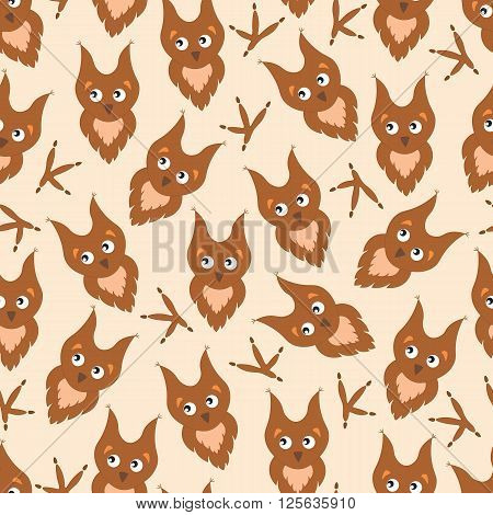 Background cartoon owl and paw prints. Children's pattern with funny cute owl nestlings.