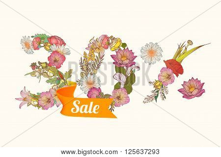 30 (thirty) percents sale. Vector floral digits