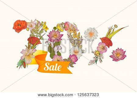 70 (seventy) percents sale. Floral vector digits.