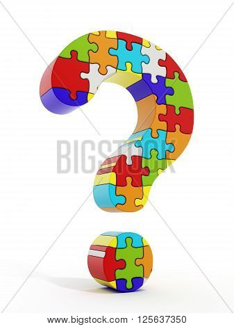 Jigsaw puzzle pieces forming a question mark isolated on white background
