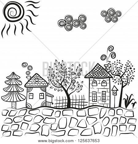 Doodle village landscape. Abstract countryside. Sketchy houses and trees. Vector illustration.