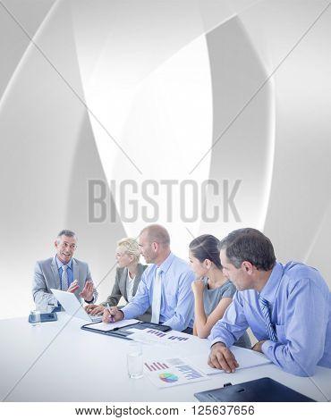 Business team having a meeting against white angular design