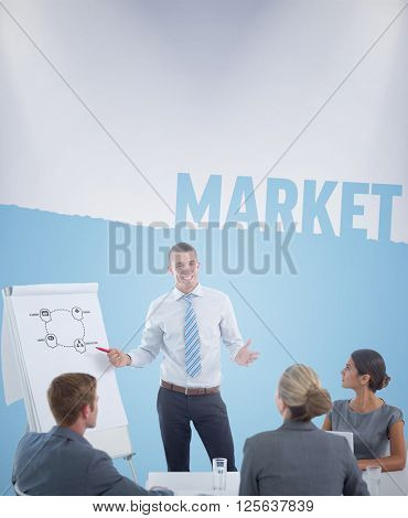 Manager presenting whiteboard to his colleagues against market