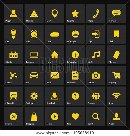 Universal flat yellow web icons set for internet or mobile aplications. Basic symbols illustrations with meanings.