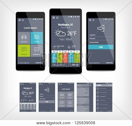 Vector mobile app ui set of modern design. Template for user interface aplication.