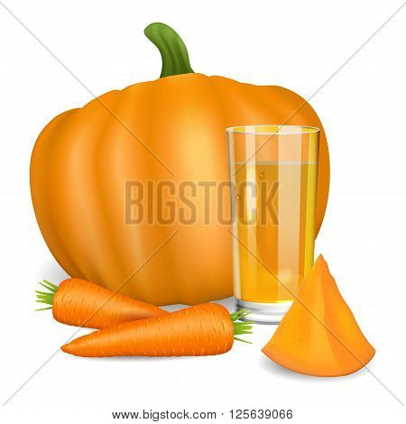 Glass with pumpkin and carrot juice. Pumpkin and carrot. Natural vegetable drink healthy organic food. Realistic vector illustration