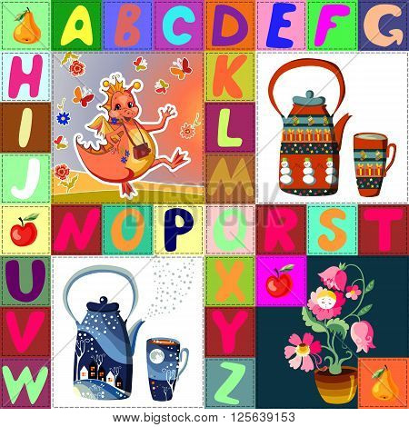 Childish seamless patchwork pattern with fantasy dragon, flower fairy, teapots and letters. Cute vector illustration of quilting.