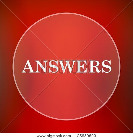 Answers icon. White translucent internet button on red background.