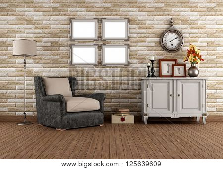 Vintage living room with armchair and dresser - 3d rendering