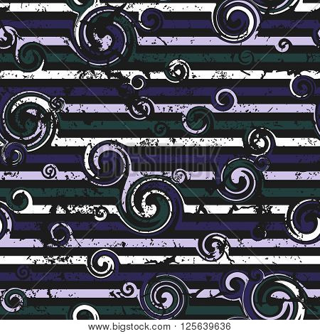Seamless pattern with stylish spiral curls. Vector texture. Grunge,