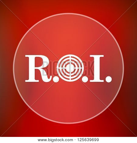 ROI icon. White translucent internet button on red background.
