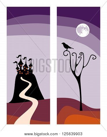 Beautiful cards for Halloween holiday. Castle on the hill and raven on the tree. Vector illustration.