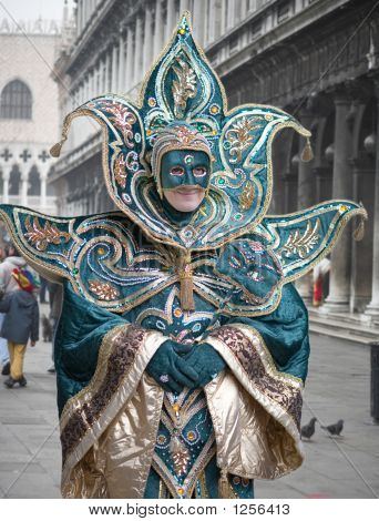 Mask And Creative Fancy Dress At The Carnival In Venice, Italy.