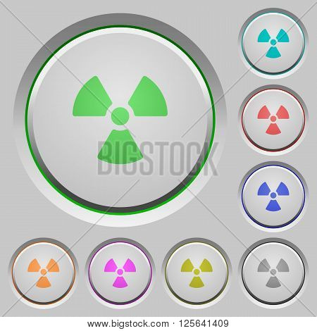 Set of color radiation sunk push buttons.