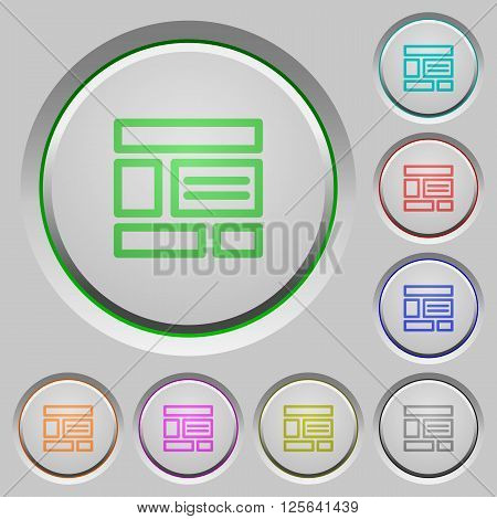 Set of color Web layout sunk push buttons.