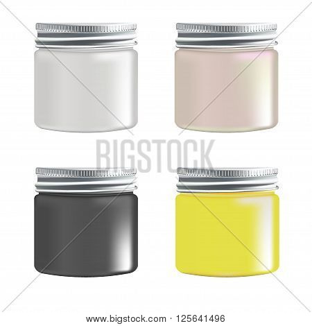 Beauty can with tin lid set. Plastic bottle with screw cap. Vector Blank  Set of Plastic Packaging Bottles with Cap for Cosmetics, Vitamins, Pills or Capsules isolated on white background