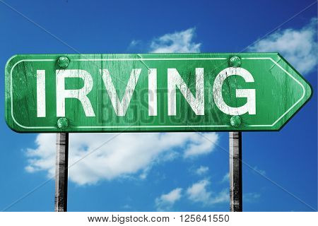 irving road sign on a blue sky background