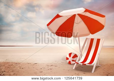 Image of sun lounger and sunshade against serene beach landscape