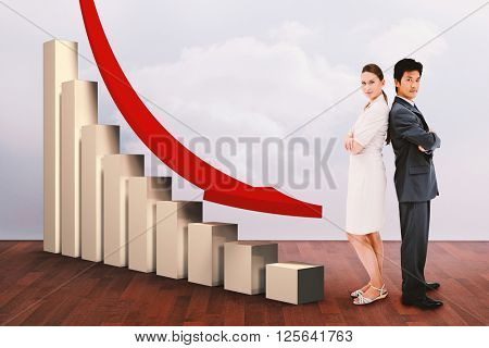 Portrait of business people standing back-to-back against clouds in a room