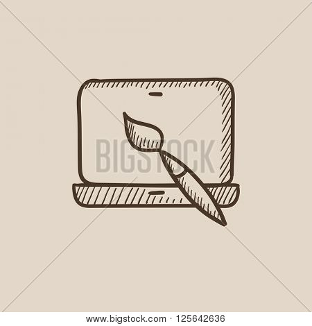 Laptop and brush sketch icon.