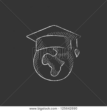 Globe in graduation cap. Drawn in chalk icon.