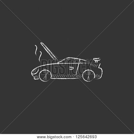 Broken car with open hood. Drawn in chalk icon.
