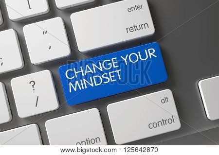Change Your Mindset CloseUp of Computer Keyboard on Laptop. Concept of Change Your Mindset, with Change Your Mindset on Blue Enter Key on White Keyboard. 3D rendering.