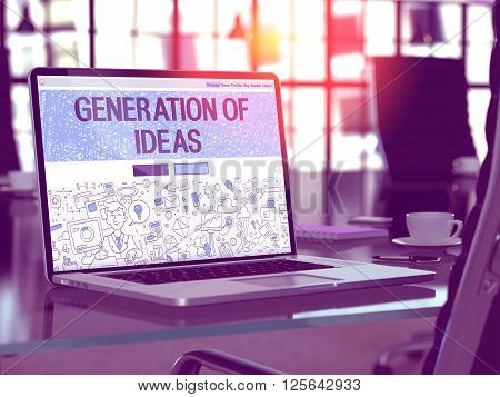 Modern Workplace with Laptop Showing Landing Page in Doodle Design Style with Text Generation of Ideas. Toned Image with Selective Focus. 3D Rendering.