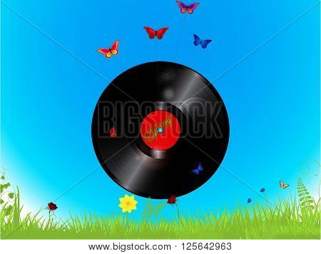 Vinyl Record with Spring Text Flying Attached to Butterflies Over Blue Sky and Grass Background