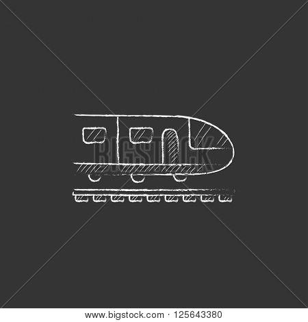 Modern high speed train. Drawn in chalk icon.