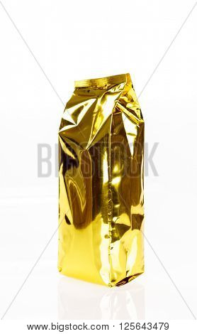 Golden foil bag package on white background