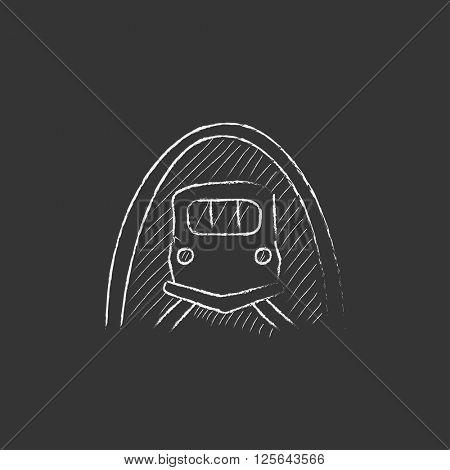 Railway tunnel. Drawn in chalk icon.