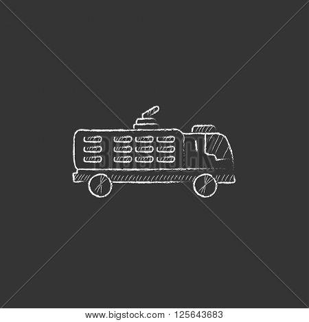 Fire truck. Drawn in chalk icon.