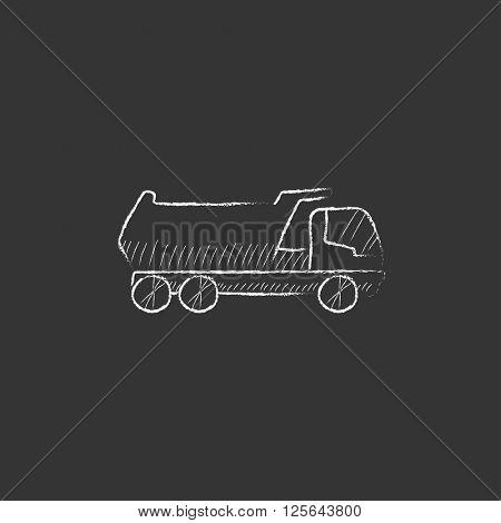 Dump truck. Drawn in chalk icon.