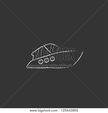 Speedboat. Drawn in chalk icon.