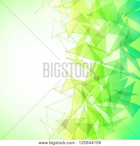 Vector illustration of green and yellow abstract geometric background